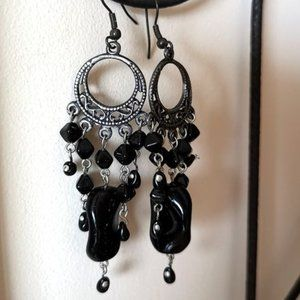 Black Goth Chandelier Earrings Hand Crafted